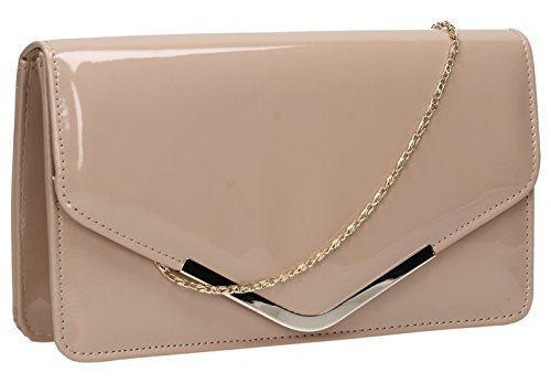 SwankySwans Damen Clutch Paris, Lackleder, Briefumschlagdesign, Nude