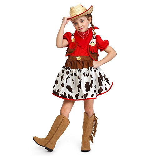 Girl Cowgirl Costumes (Dress Up America Girls Cutie Star Cowgirl Halloween Deluxe Costume Outfit)