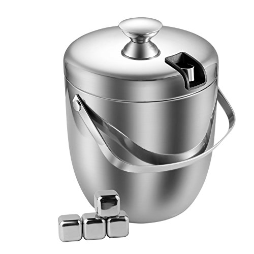 ATECKING Stainless Steel Double Wall Ice Bucket Fingerprint-Proof with Tongs
