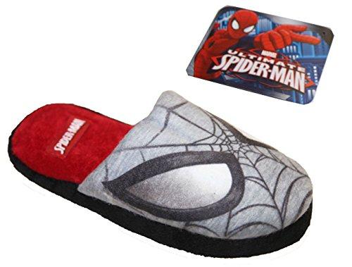 Hausschuhe Junge SpiderMan Spinne -Mann Schuhgrößen 27/28 die 33/34 MARVEL Grau/Rot