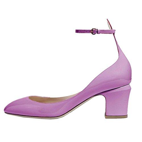 Ankle Size FSJ Light Pumps for Leather Toe Shoes Purple Women Patent Almond Dress US Strap Mid 4 Heels 15 qxxOCd