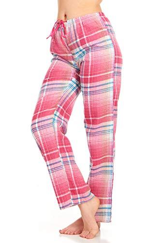 (Womens Flannel Pajama Pants, Long Novelty Cotton Pj Bottoms, Pink Blue, X-Large)