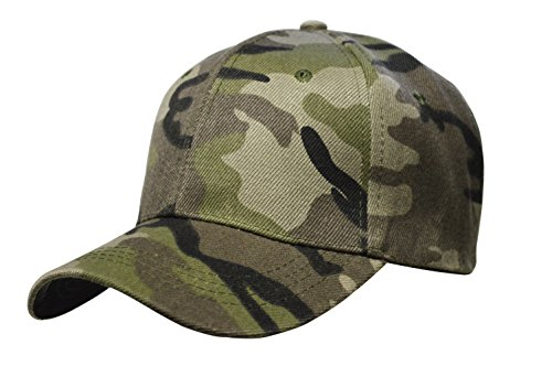 DF Unisex Adult Men Women Plain Camouflage Classic Adjustable Velcro Back Strap Baseball Cap Hat DF-2103 (Grey)