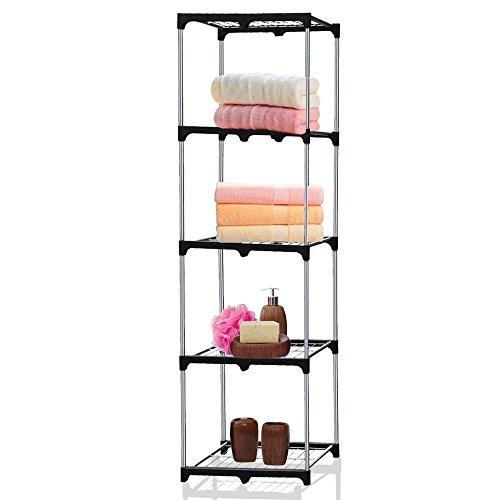 World Pride Laundry 5-Tier Silver Square Tower Shelves,Bathr