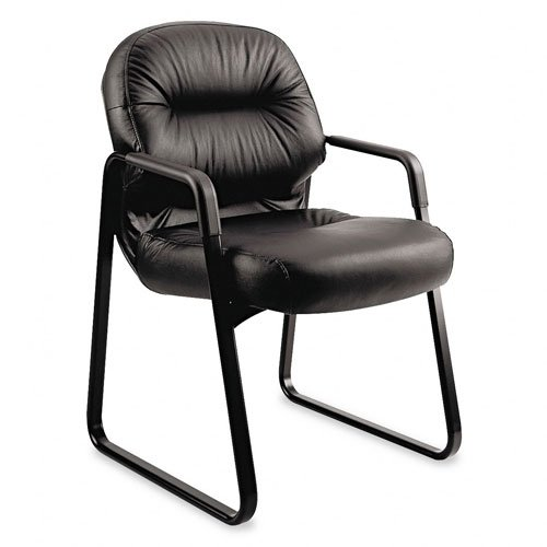 HON 2093SR11T Leather 2090 Pillow-Soft Series Guest Arm Chair, Black Basyx Steel Folding Table