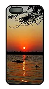 iPhone 5 5S Case Landscapes sunset 4 PC Custom iPhone 5 5S Case Cover Black