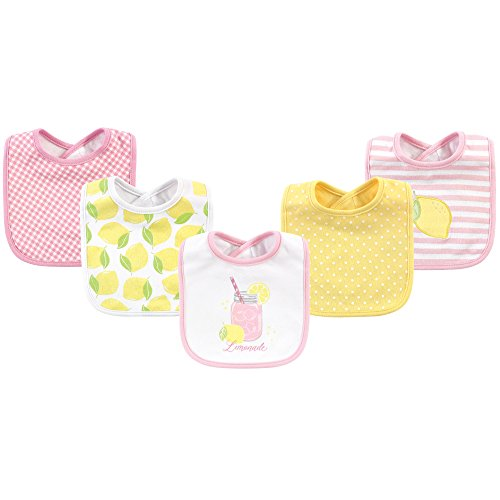 Hudson Baby Baby Cotton Drooler Bib, 5 Pack, Lemonade, One Size