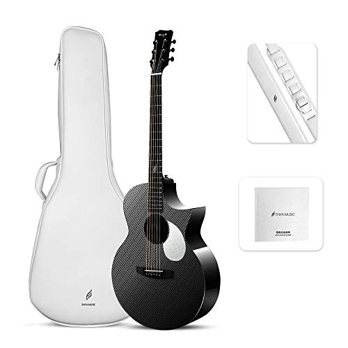 Enya Carbon Fiber Guitar EA-X3C Transacoustic 41 Inch Cutaway Guitar with Elixir Strings, Free Padded Gig Bag,Gift box, Strap