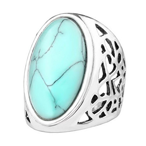 PSEZY Big Oval Turquoise Ring Bohemian Style Tibet Silver Alloy Jewelry Forever Love Free Promise Rings Carteiras Femininas 8.0