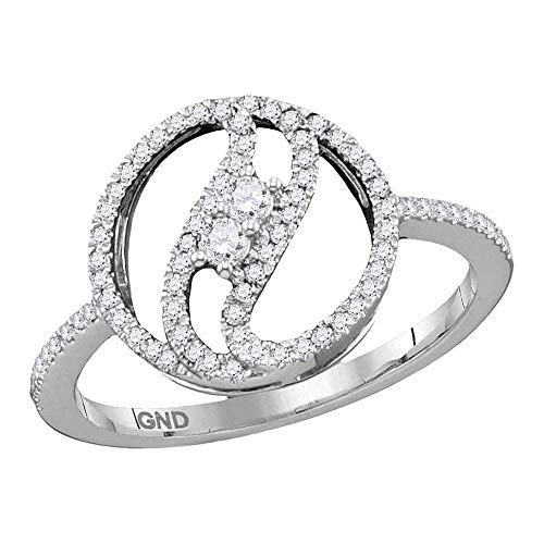 Dazzlingrock Collection 10kt White Gold Womens Round Diamond 2-stone Circle Ring 1/5 Cttw