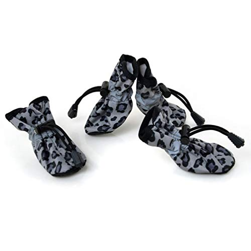 Jim Hugh Dog Shoes Waterproof Anti-Slip Rubber Sole Leopard Boots Products for Animals Pet Shoe for Dogs