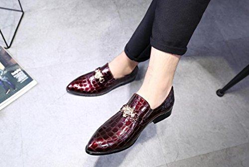 LQV Hommes Crocodile Motif Cuir Chaussures Britannique Mode Chaussures pour Party Banquet Robe Confort Red kF7WwxUFdm