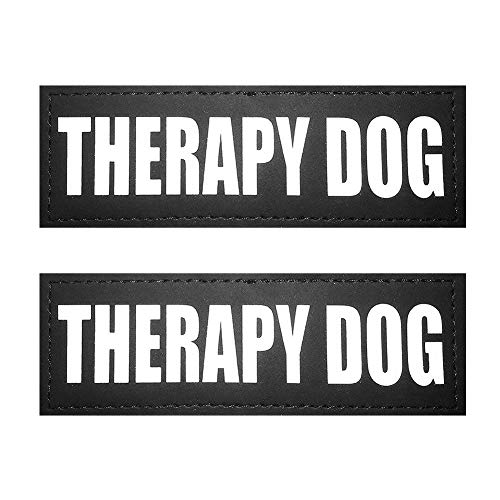 FAYOGOO Reflective Therapy Dog Patches with Hook Backing for Service Dog Vests/Harnesses. L, 6x2