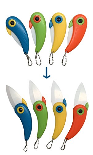 NEW Unique Bird Folding Handle Survival Knife Kitchen Tool Colorful Vegetable Knives 4 Piece Premium Ceramic Camping Knives 4 Portable Knife Set Best Kitchen Fruit Knifes Set (4 Color Knifes)