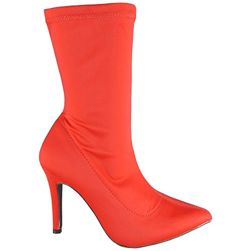 Stiletto Party Toe Ankle 3 Heel Look Ladies Boots Pointy Red Loud High Stretch Shoes 8 Womens Size pw4P0qI