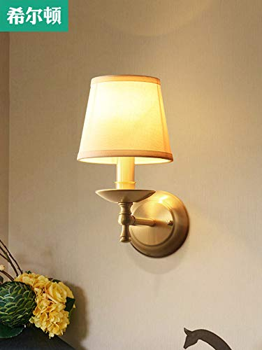 (Hilton all-copper bedroom wall lamp American-style living room hallway hallway stairs bedside lamp wall lamp minimalist interior)