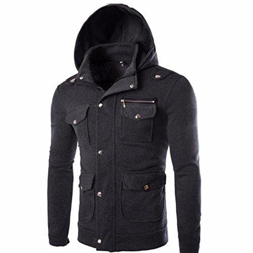 Forthery Men's Long sleeve Zip-Up Casual Fleece Hoodie Coat Sweatshirt Jacket (Tag L= US M, Dark Gray)