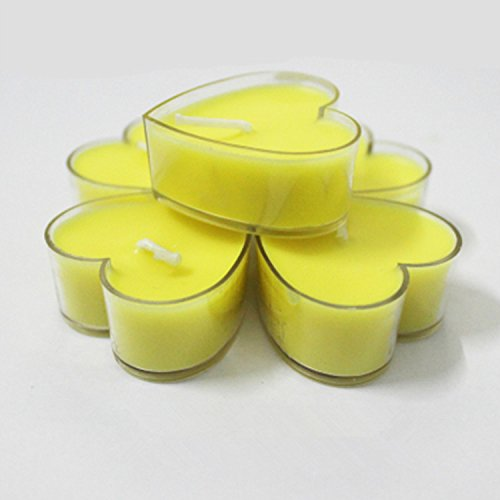 Tea Lights Heart Tea Light Holders Yellow Candles Set of 9 - FREE POSTAGE (Heart Shaped Tealight Holder)