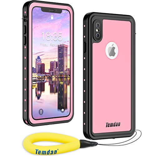 Temdan Waterproof iPhone Xs Max Case, Rugged Heavy Duty Support Wireless Charging Full Body Shockproof Clear Case Built in Screen Protector Waterproof Case for iPhone Xs Max Case 6.5 Inch(Pink)