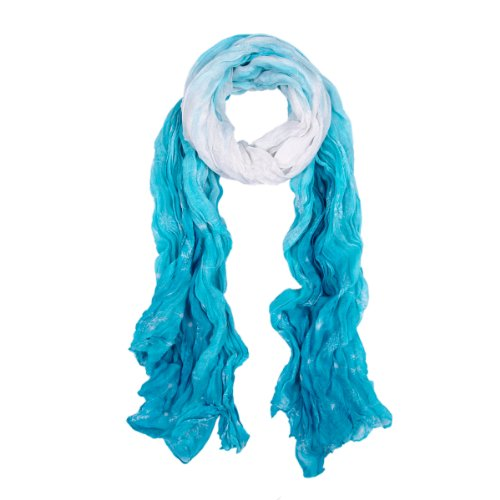 Chic Ombre Watercolor Snowflake Scarf, Light Blue