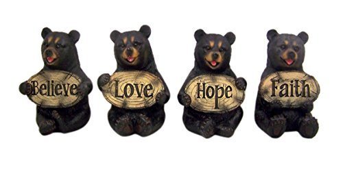 Set of 4 Bears of Grace Figurines Holding Inspirational Plaques, 3 1/4 Inch