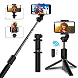 Selfie Stick Tripod, TEUMI Mini Pocket Extendable Monopod Wireless Remote Bluetooth Selfie Stick for iPhone Xs/iPhone XR/iPhone Xs Max/iPhone X/iPhone 8/8 Plus/7/6, Galaxy S10 Plus/S10/S10e//Note 9/Note 8