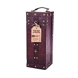 True Fabrications Wood Wine Box Single Bottle Wine Holder