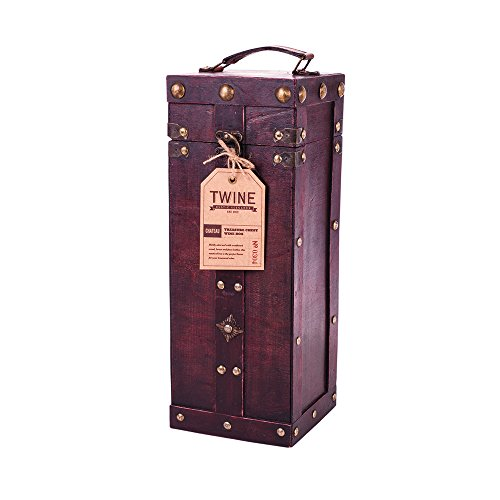 Chateau Treasure Chest Wine Box by Twine – (Holds 1 750ml Wine Bottle) Made Leather Single Wine