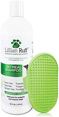 Lillian Ruff Oatmeal Dog Shampoo - Lavender Coconut Scent with Aloe - Deodorize and Soothe Dry Itchy Skin - Gentle Cleanser for Normal to Sensitive Skin (16 oz with Bath Brush)