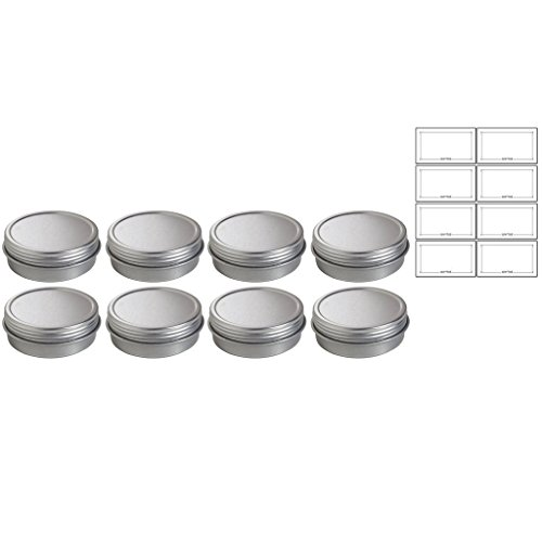 (1 oz Metal Steel Tin Flat Container with Tight Sealed Twist Screwtop Cover (8 pack) +)