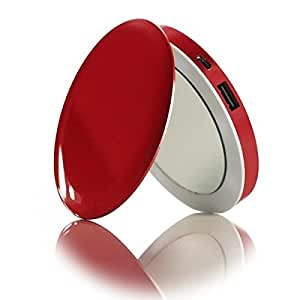 Pearl Compact Mirror USB Rechargeable Battery Pack, Light Up Personal Makeup Mirror with a 3000mAh Battery and 2.1 Amp USB Port (Red)
