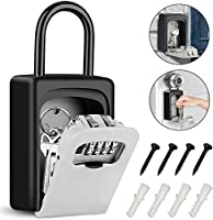 Tobeape Key Lock Box with Hook, Portable Wall Mount Key Storage Box with 4 Digit Resettable Code Combination& Slide Cover...