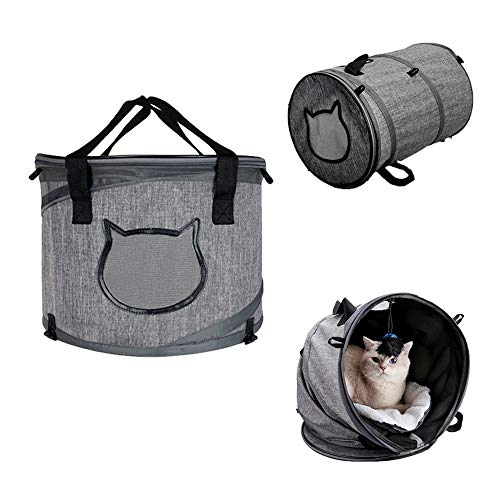 Docamor Premium Airline Approved Soft-Sided Collapsible Portable Pet Cat Travel Carrier Bag Cage Bed Tunnel with 2 Ventilation,Cotton Mat and Toys for Small Medium Sized Cats,Dogs,Kittens,Puppies For Sale