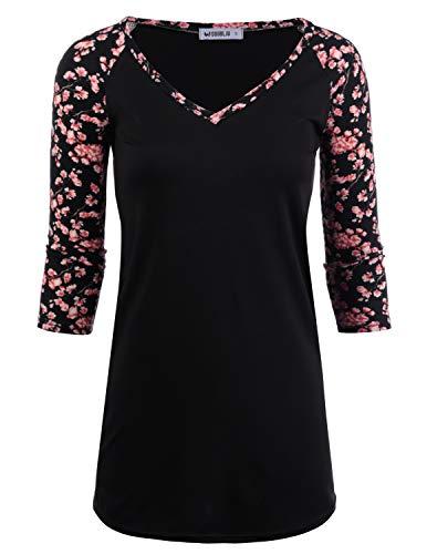 - Doublju Women's Sporty Design Top Raglan Short Sleeve V-Neck Shirt, Blackpink S