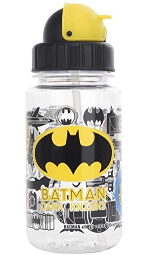 14-oz Batman BPA Free Tritan Straw Water Bottle Flip-top Cap Heat/Cold Resistant Plastic Kids Baby