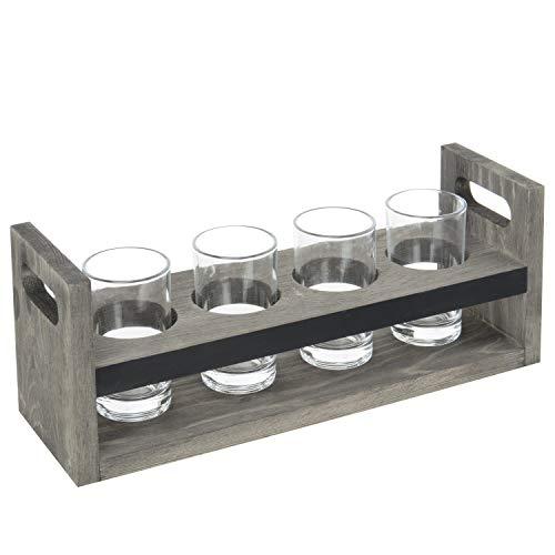 (MyGift Vintage Gray Wood Beer Flight 5-Pc Tasting Set with Chalkboard Panels & 4 Tasting Glasses)