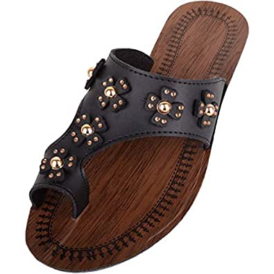 ABSOLUTE FOOTWEAR Womens Slip On Summer/Holiday/Beach Sandals/Shoes/Mules - Black - US 6