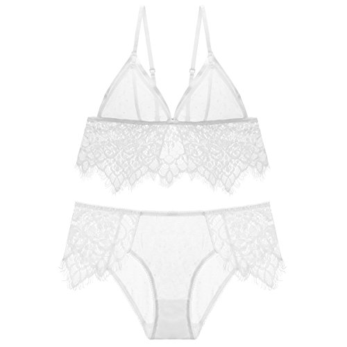 Mfun Women Sexy Deep V Lace Underwire Bra Set Push up Embroidered Lace Bra with Panties (38C, (Embroidered Underwire Bra Set)