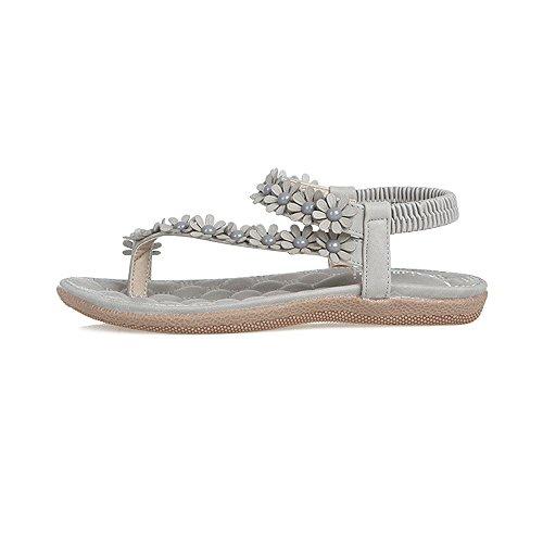 dedo OCHENTA pie playa abalorios Zapatos Bohemia del de del de dulce sandalias clip Mujer del de Gris la Sr1wR7Sq