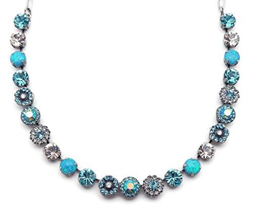 Mariana Italian Ice Swarovski Crystal Silvertone Necklace Blue & Clear Mosaic Savannah M141 (Ice Swarovski Flower)