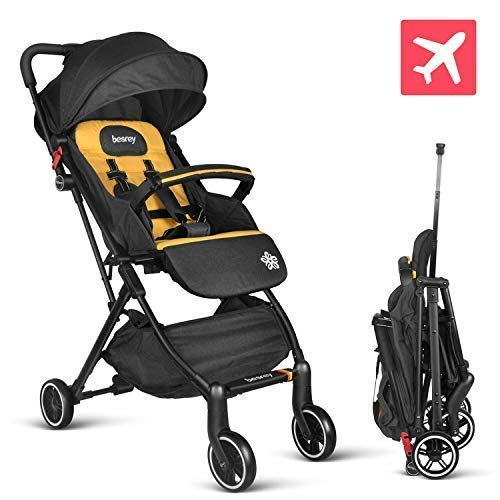 besrey Baby Stroller Pram Baby Carriage Reclining Seat for Airplane Compartment – Yellow