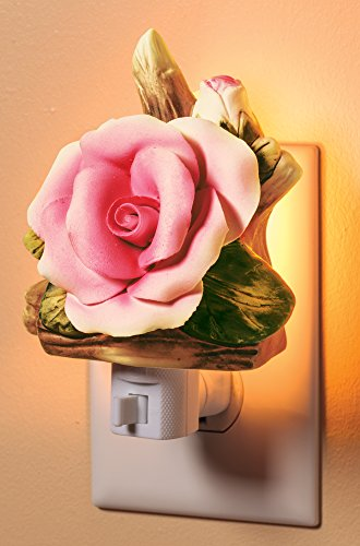 Night Light - Decorative Rose Nightlight, Fixture for Bedroom, Bathroom, or Home (Hall Rose)