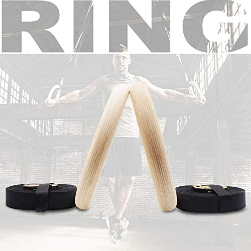 Home Gym Workout Equipment Wood Gymnastics Rings 28mm for Full Body Strength and Muscular Bodyweight Training with Adjustable Long Buckles Straps