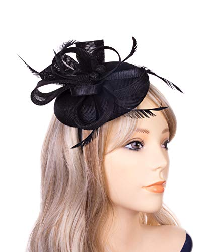 Fascinator Hats for Women Pillbox Hat Sinamay Feathers Veil Headband and a Forked Clip Tea Party Headwear for Girls Wedding Party Church Cocktail Derby Royal Banquet(Black)]()