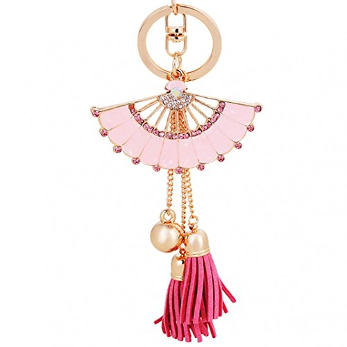 preliked Fashion Shiny Rhinestone Fan Shaped Bead Tassel Pendant Enamel Key Chain Keyring (Pink)