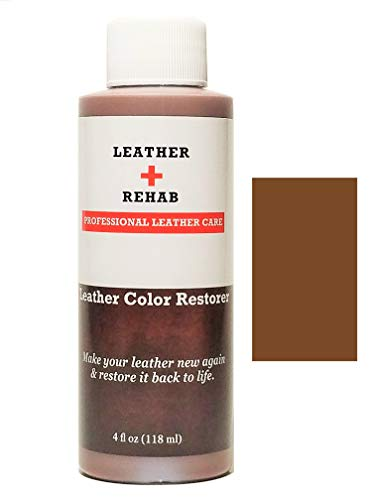 Leather Rehab Leather Color Restorer - Repair & Restore Faded, Worn and Scratched Leather & Vinyl Easily with No Kit - Furniture, Couch, Car Seat, Shoes, Jacket and Boots - 4 oz. Saddle Brown
