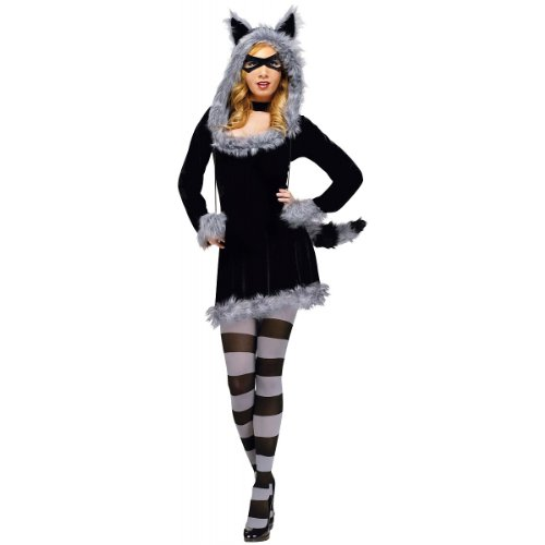 Fun World Women's Racy Raccoon Costume, Black,