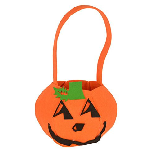[Elevin(TM) Children Kids Halloween Pumpkin Bag Candy Bucket Handbag Trick or Treat Bag (11X16cm)] (College Girl Halloween Costumes Creative)