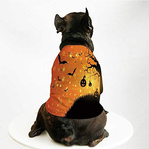 YOLIYANA Halloween Comfortable Pet Suit,Magical Fantastic Evil Night Icons Swirled Branches Haunted Forest Hill Decorative for Teddy Chihuahua Bichon,L ()
