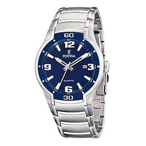 Festina F16487/2 - Reloj analógico de cuarzo para hombre con correa de acero inoxidable, color plateado